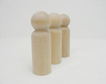 Large Wooden peg people man unfinished DIY set of 3