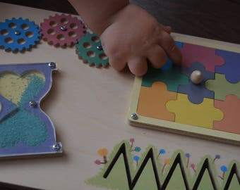 Wooden Busy Board, Wooden Montessori Toy for Toddler, Motor Activity Toy, Sensory Board, 1st birthday gift, Lock Board, Educational game