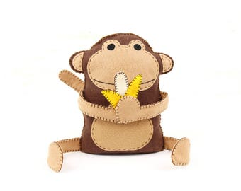 Felt Monkey Sewing Pattern, Hand Sewing Plush Monkey Softie, Instant Download PDF, Plush Monkey & Banana Stuffie Pattern, Stuffed Monkey
