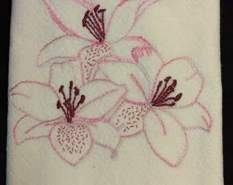 Azalea Embroidered Tea Towel