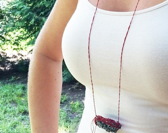 Oyster Shell Necklace, Red Grey Beach Wear, Long Sexy Necklace SHL18