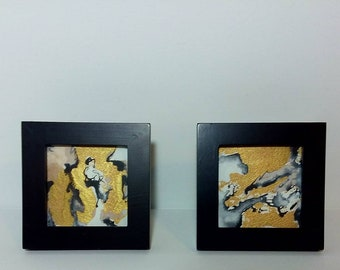 Gold, Black, and White Modern Abstract Expressionist Mini Pair of Paintings