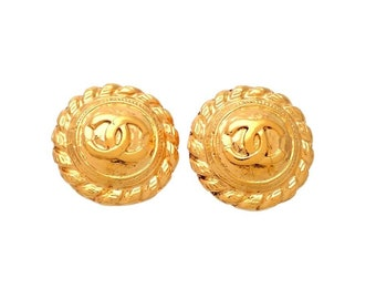 Authentic vintage Chanel earrings Round Rope CC logo #ea2070