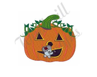 Pumpkin Mouse Jack O Lantern - Machine Embroidery Design