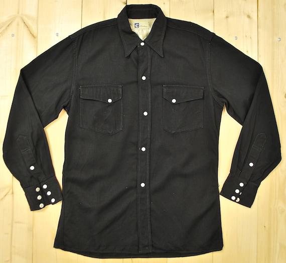 Vintage 1940's/50's Black Gabardine Western Shirt / Christensen / Calgary Stampede / Cowpunk /Retro Collectable Rare oGmWf