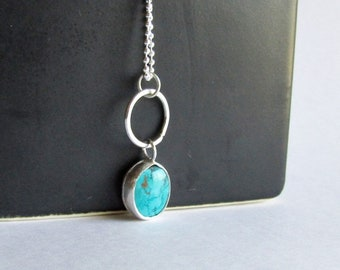 Arizona Turquoise Necklace with Hammered Sterling Silver Hoop - December Birthstone - 25th Anniversary Gift