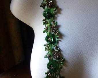 "Green Beaded Trim 18"" Satin Flowers for Lyrical Dance, Headbands, Jewelry, Costumes, Crafts"