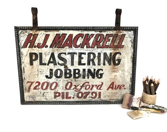 Metal Sign - Vintage Plastering Jobbing Hand Painted Sign - Philadelphia Oxford Ave - HJ Mackrell Double Sided - Metal Frame Advertising