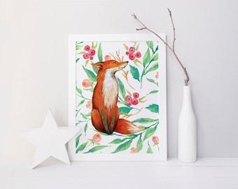 floral fox print · for printable · fox nursery decor · playroom wall decor · kids room decor · nursery printable · woodland nursery wall art