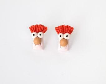 Beaker - Muppets character - new handmade lightweight earrings, jewelry, animal, ideal for gift for girl