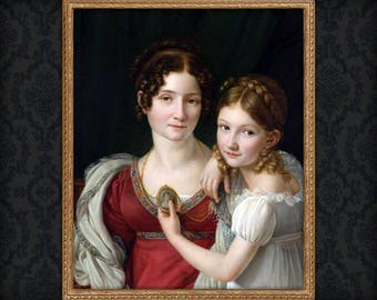 Custom Anniversary gift, two person renaissance portrait, Mom and daughter Victorian Portrait, portrait from photo, free shipping!