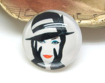 2 cabochons 20 mm glass Fatale black and white cream woman - 20 mm