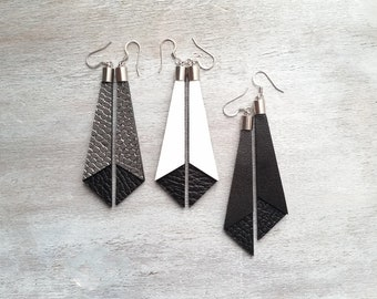 Leather Dangle Earrings Black Dangle earrings Leather earrings