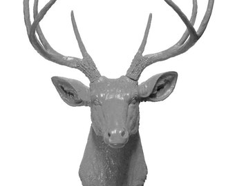 Gray Deer Head Mount Wall Statue. Faux Taxidermy Fake Deer Head.