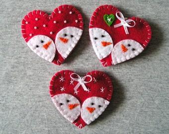 Fridge Magnets -Christmas Felt Ornaments - Kitchen Decor - Refrigerator Magnets - Christmas Snowman - Christmas Gift Idea - Handmade Gift