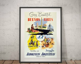 buenos aires, buenos aires travel poster, wall decor, vintage