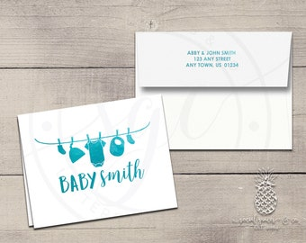 Clothesline Baby Shower Letterpress Foil Thank You Cards & Envelopes - Correspondence Cards - Custom Stationery Note Cards