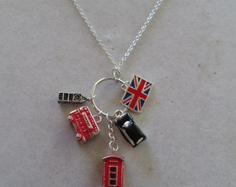Mint vintage Claires UK London charm necklace on silver chain