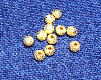 Gold Stardust Beads, 4mm, Spacer Beads, Round, 100 Pieces,  Findings, Supplies, Beading