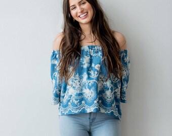 Denim Bell Sleeve Off Shoulder Top - Bleached Denim Shirt - Denim Tunic - Womens Blouse Top - Bell Sleeves - Crop Top