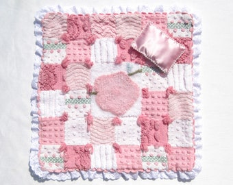 """Small Doll Quilt Pink Chenille Quilt for 12"""" Doll Small Doll Quilt Doll Blanket Pink Doll Quilt Lovey Security Blanket Patchwork Comforter"""