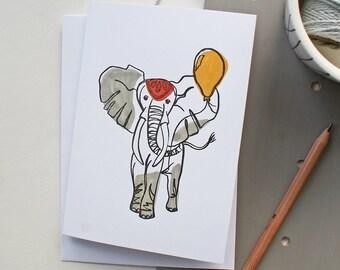 Letterpress Elephant Birthday/Congratulations/Anniversary/New baby/christening greeting card
