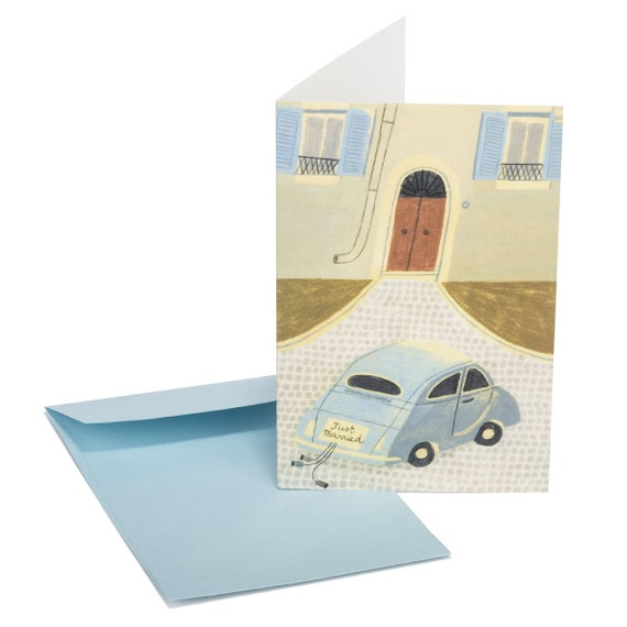 JUST MARRIED. Wedding wishes card. Just married. Old wedding car. Vintage style