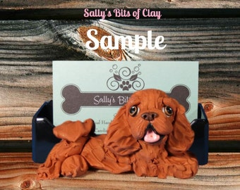 Ruby Cavalier King Charles Spaniel Business Card Holder / Iphone / Cell phone / Post it Notes OOAK sculpture by Sally's Bits of Clay