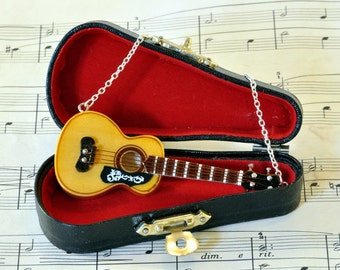 Acoustic Guitar Necklace in Case - Guitar Gifts - Music Necklace - Guitar Jewellery