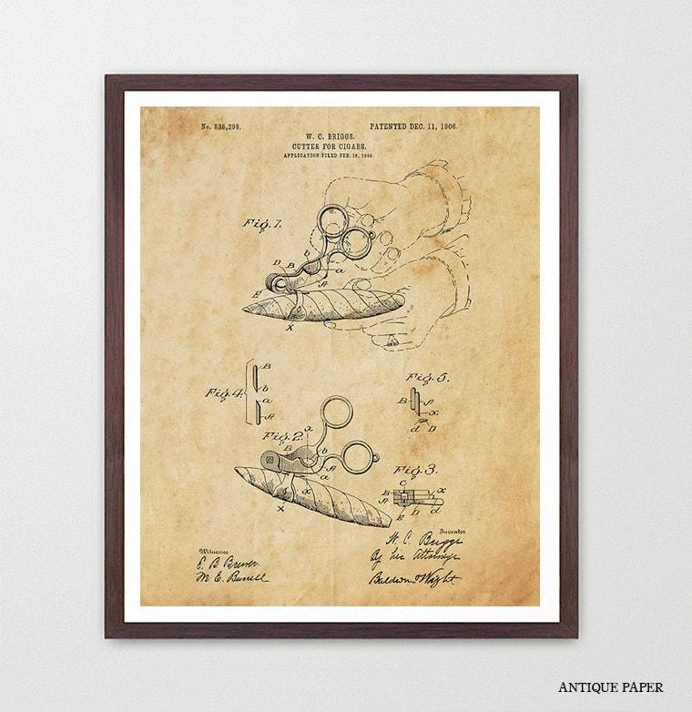 Cigar Poster - Cigar Patent - Cigar Art - Smoke Shop - Cigar Wall ...