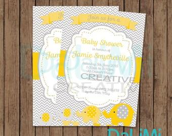 Elephant Baby Shower Invitation - Bright invitation - Printable Invitation - Personalised - Digital File!