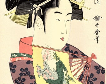 "Japanese Ukiyo-e Woodblock print, Utamaro ""Dojoji - Contemporary Dancers"""