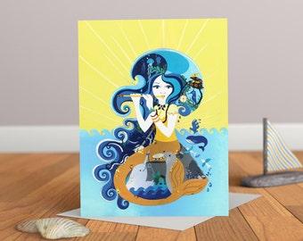 Chant de la sirène carte - sirène carte - bord de mer - carte enfants - enfants