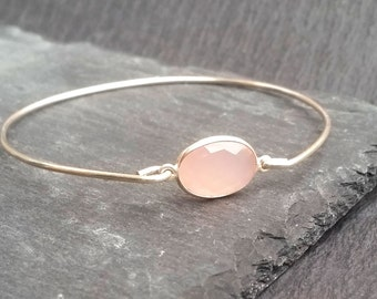Rose Quartz Gemstone Bracelet on Sterling Silver or 14k Gold Bangle Bracelets | June Birthstone Jewelry | June Birthday Gift, Natural Quartz