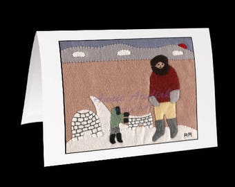 "Inuit Greeting Card #11 ""Teaching the Children"" by Annie Aculiak"