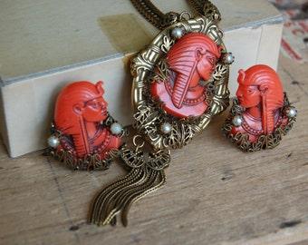 Vintage 1940s Selro Egyptian Revival lucite pharoah earring necklace set
