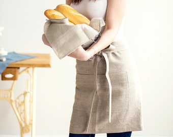 Grey APRON With Pockets - Cafe Apron - Waitress Apron