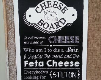 Personalised Chalkboard Wedding Sign - Cheese Board - black & white A4 print - Made in UK