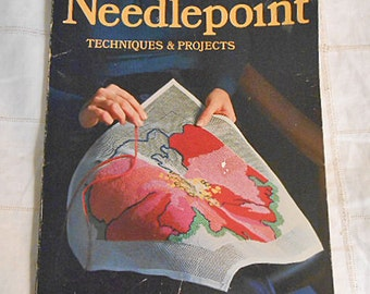 SUNSET NEEDLEPOINT BOOK How To Techniques Projects, Materials Equipment Basic & Decorative Stitches, Prep Finish Bargello Cross Stitch 1975