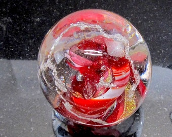 RED Memorial CREMATION GLASS Blown Glass Orb - Nebula Swirl Paperweight - (Pet Ashes Only)