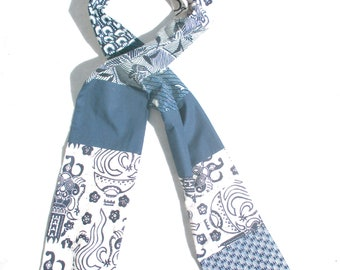Patchwork Scarf, Navy and White, Cotton Batik, Pieced Scarf ,Ethnic. Tribal, Mens Scarf, Patchwork Scarves, Pieced Scarves, Mens Long, OOAK