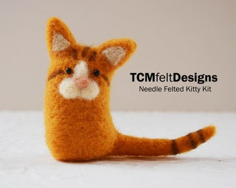 Needle Felting Kitty Kit, wool DIY complete fiber kit for beginners