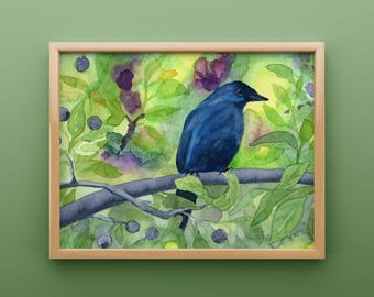 Indigo Bunting Watercolor Print