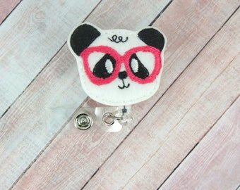 Geeky Panda Badge Reel - Panda Badge Holder - Badge Reel - Feltie Badge Reel- Retractable ID Badge Holder - Badge Pull