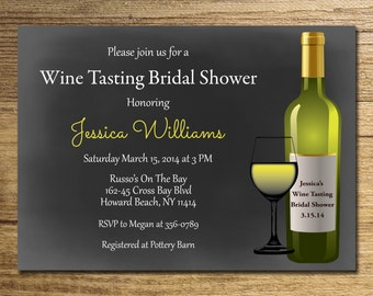 Wine tasting Bridal Shower Invitation/Wine tasting Shower/ Chalkboard Invitation/Winery Bridal Shower Printable File.