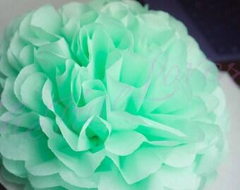 MINT/ 1 tissue paper Pompoms/single pompom/nursery room decoration/ baby shower/wedding/birthday/ party/ engagement/ bridal shower
