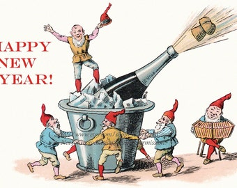 New Year Card - Gnomes Dance and Celebrate with Champagne Elves