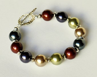 Pearl Bracelet Multi Colored Handmade Beaded Jewelry in Silver Beaded Bracelet Swarovski Pearls