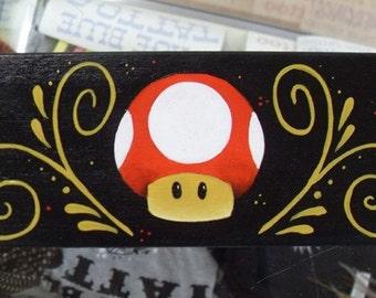 ON SALE )) Hand Painted Grow Mushroom Mario Bros Nintendo Gamer Treasure / Gift Box