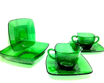 Sugar and cream plus three plates and a bowl in Forest Green Charm Depression Glass by Anchor Hocking. All in excellent vintage condition